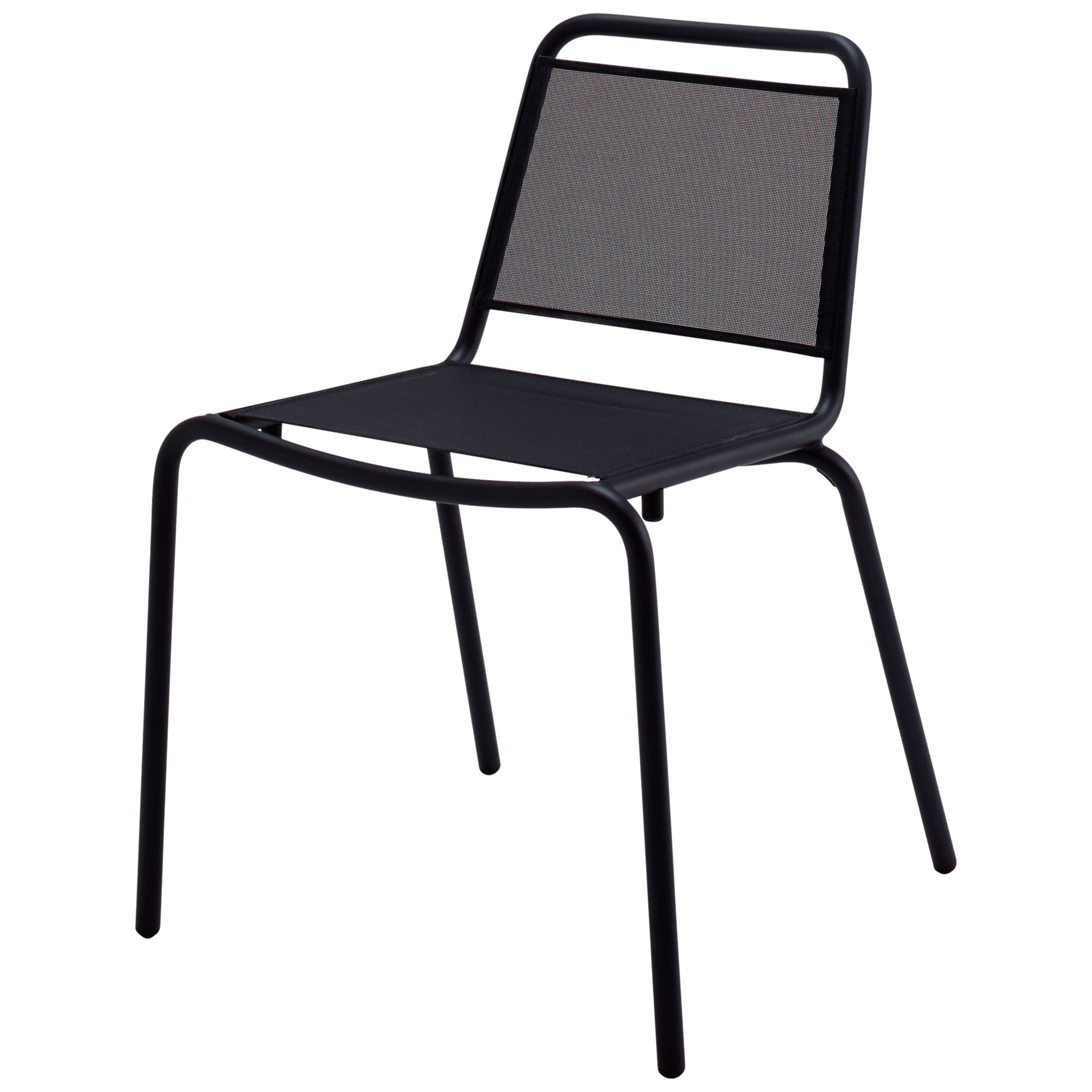 Gloster Nomad Sling Woven Stacking Chair, Black