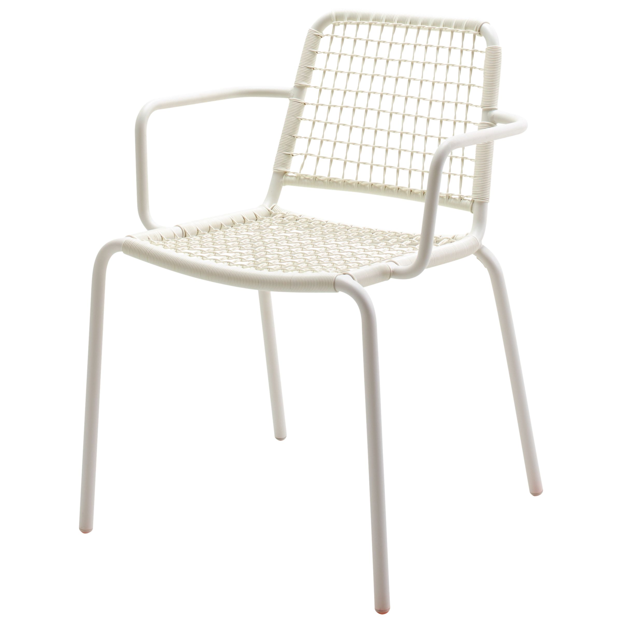 Gloster Nomad Woven Stacking Chair with Arms, White