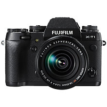 "Buy Fujifilm X-T1 Compact System Camera with 18-55mm XF Lens, HD 1080p, 16.3MP, Wi-Fi, OLED EVF, 3"" LCD with Millican Robert Camera Bag, Brown Online at johnlewis.com"
