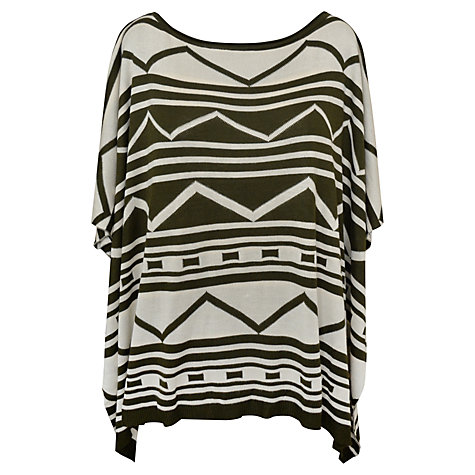 Buy Paise Aztec Knitted Poncho, Green Online at johnlewis.com