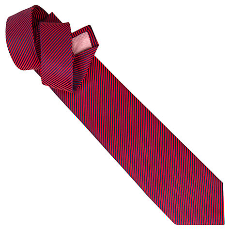 Buy Thomas Pink Thin Stripe Silk Tie, Red/Navy Online at johnlewis.com