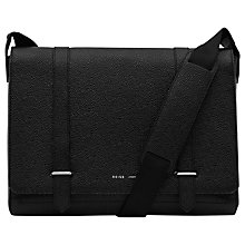 Buy Reiss Powell Pebbled Leather Messenger Bag, Black Online at johnlewis.com