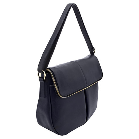 Buy Whistles Duffy Zip Leather Satchel Handbag, Navy Online at johnlewis.com