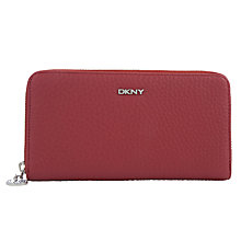 Buy DKNY Tribeca Leather Large Zip Around Purse, Brick Online at johnlewis.com