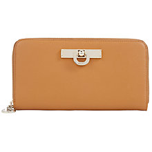 Buy DKNY Vintage Large Leather Zip Around Purse, Tan Online at johnlewis.com