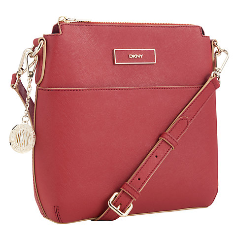 Buy DKNY Saffiano Top Zip Leather Across Body Bag Online at johnlewis.com