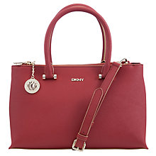 Buy DKNY Saffiano Leather Medium Zip Top Shopper Bag, Brick Online at johnlewis.com