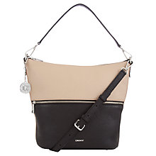 Buy DKNY Tribeca Leather Bucket Hobo Bag, Sand/Black Online at johnlewis.com