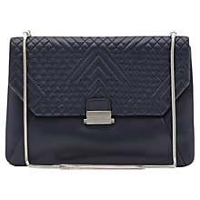Buy Reiss Quilted Envelope Cross Body Jasmine Bag, Navy Online at johnlewis.com