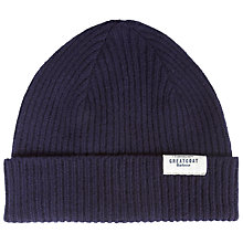 Buy Barbour Great Coat Knit Beanie Hat, One Size, Navy Online at johnlewis.com