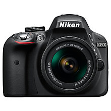 "Buy Nikon D3300 Digital SLR Camera with 18-55mm VR Lens, HD 1080p, 24.2MP, 3"" Screen + Adobe Photoshop Elements 13 Online at johnlewis.com"