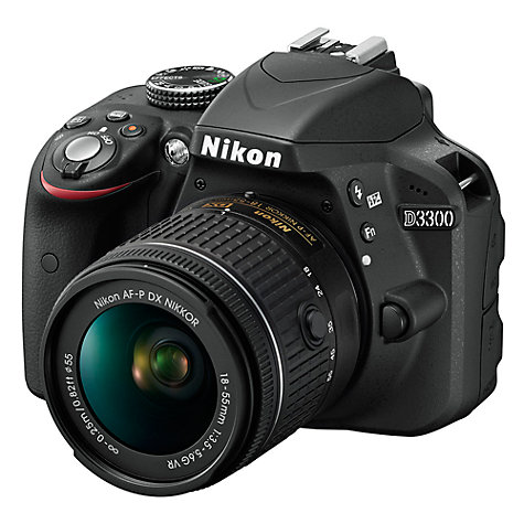 "Buy Nikon D3300 Digital SLR Camera with 18-55mm AF-P Lens, HD 1080p, 24.2MP, 3"" Screen Online at johnlewis.com"