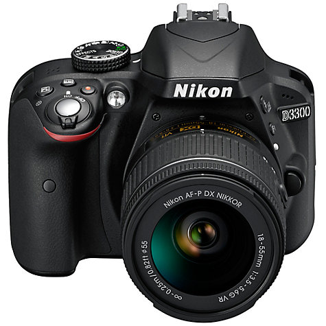 "Buy Nikon D3300 Digital SLR Camera with 18-55mm VR Lens, HD 1080p, 24.2MP, Optical ViewFinder,  3"" LCD Monitor, Black Online at johnlewis.com"