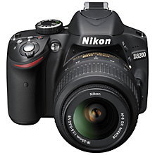 "Buy Nikon D3200 Digital SLR Camera with 18-55mm VR Lens, HD 1080p, 24MP, 3x Optical Zoom, 3"" LCD Screen with FREE Accessory Kit Online at johnlewis.com"