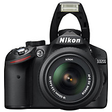 "Buy Nikon D3200 Digital SLR Camera with 18-55mm VR Lens, HD 1080p, 24MP, 3x Optical Zoom, 3"" LCD Screen with 16GB + 8GB Memory Card Online at johnlewis.com"
