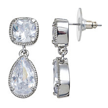 Buy Carolee Uptown Girl Double Drop Crystal Earrings, Silver Online at johnlewis.com