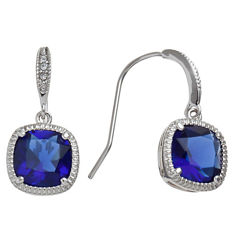 Buy Carolee Sapphire Glass Cushion Drop Earrings, Blue Online at johnlewis.com