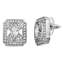 Buy Carolee Uptown Girl Cushion Crystal Earrings, Silver Online at johnlewis.com