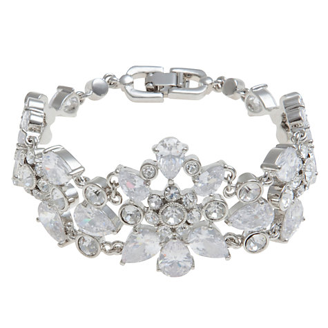 Buy Carolee Uptown Girl Flower Crystal Bracelet, Silver Online at johnlewis.com