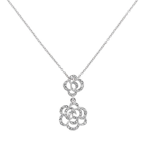 Buy Finesse Swarovski Crystal Double Flower Drop Pendant Online at johnlewis.com