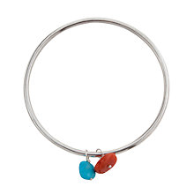 Buy Cobra & Bellamy Double Sterling Silver Nugget Bead Bangle, Turquoise / Coral Online at johnlewis.com