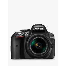 "Buy Nikon D5300 Digital SLR Camera with 18-55mm VR Lens, HD 1080p, 24.2MP, Wi-Fi, 3.2"" Screen + Adobe Photoshop Elements 13 Online at johnlewis.com"