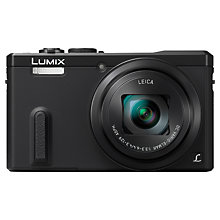 "Buy Panasonic Lumix DMC-TZ60 Digital Camera, HD 1080p, 18.1MP, 30x Optical Zoom, Wi-Fi, NFC, GPS & GLONASS, EVF, 3"" Screen, Black with Memory Card Online at johnlewis.com"