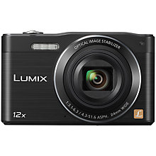 "Buy Panasonic Lumix DMC-SZ8 Digital Camera, HD 720p, 16MP, 12x Optical Zoom, Wi-Fi, 3"" LCD Screen, Black with 16GB + 8GB Memory Card Online at johnlewis.com"