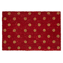 Buy John Lewis Polka Dot Doormat, Red, L75 x W45cm Online at johnlewis.com