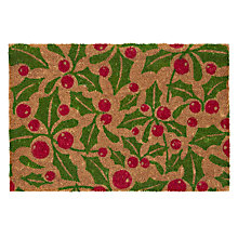 Buy John Lewis Christmas Holly Doormat, L45 x W75cm Online at johnlewis.com