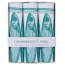 Buy Thornback & Peel Sardine Handkerchiefs, Pack of 3, Blue Online at johnlewis.com