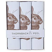 Buy Thornback & Peel Rabbit Handkerchiefs, Pack of 3, Brown Online at johnlewis.com