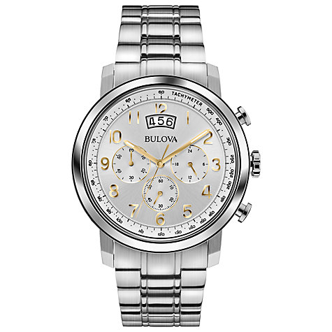 Buy Bulova 96B201 Men's Dress Chronograph Stainless Steel Bracelet Strap Watch, Silver Online at johnlewis.com