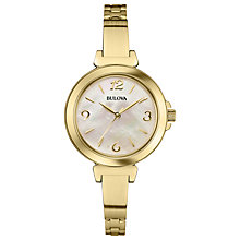 Buy Bulova 97L136 Women's Dress Mother of Pearl Slim Bracelet Strap Watch, Gold Online at johnlewis.com