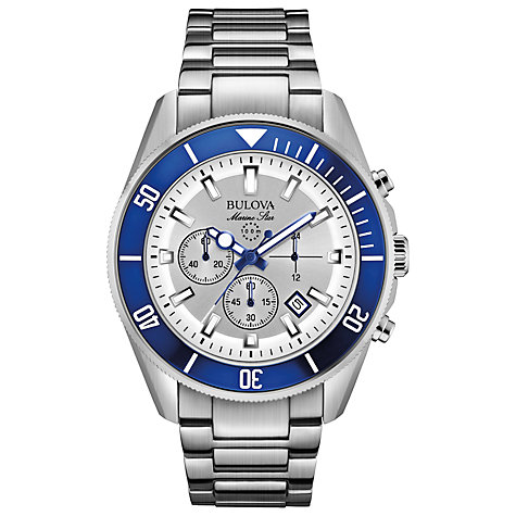 Buy Bulova 98B204 Men's Marine Star Chronograph Bracelet Strap, Silver / Blue Online at johnlewis.com
