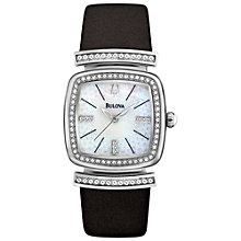 Buy Bulova 96L194 Women's Dress Mother of Pearl Crystal Detail Watch, Black Online at johnlewis.com