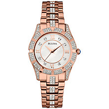 Buy Bulova 98L197 Women's Crystal Set Bracelet Strap Watch, Rose Gold Online at johnlewis.com