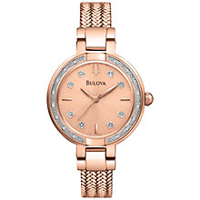 Buy Bulova 98R179 Women's Aracena Diamond Dial Watch, Rose Gold Online at johnlewis.com