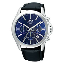 Buy Lorus RT389AX9 Men's Chronograph Leather Strap Watch, Black / Blue Online at johnlewis.com