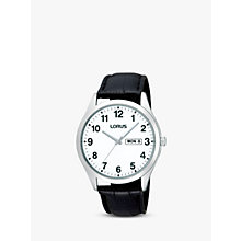 Buy Lorus RJ643AX9 Men's Date Stainless Steel Leather Strap Watch, Black Online at johnlewis.com