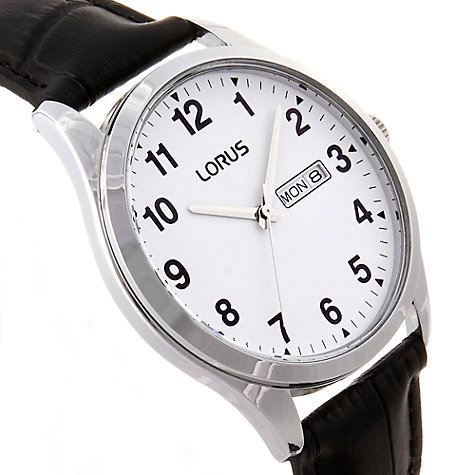 Buy Lorus RJ643AX9 Men's Day Date Leather Strap Watch, Black/White Online at johnlewis.com
