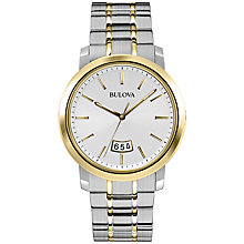 Buy Bulova 98B214 Men's Gold Plated Stainless Steel Bracelet Strap Dress Watch, Gold Online at johnlewis.com
