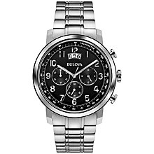 Buy Bulova 96B202 Men's Chronograph Date Display Bracelet Strap Watch, Silver / Black Online at johnlewis.com