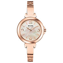 Buy Bulova 97L137 Women's Dress Mother of Pearl Slim Bracelet Strap Watch, Rose Gold Online at johnlewis.com