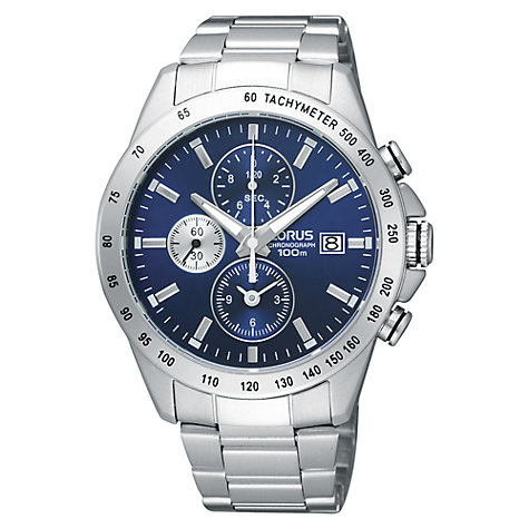 Buy Lorus RF851DX9 Men's Stainless Steel Strap Blue Dial Watch, Silver Online at johnlewis.com