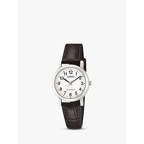 Buy Lorus RRS57UX9 Women's Round Dial Leather Strap Watch, Brown Online at johnlewis.com