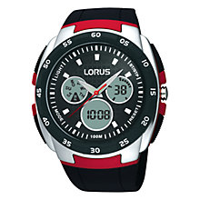 Buy Lorus R2343DX9 Men's Analogue/Digital Chronograph Polycarbonate Strap Watch, Black/Red Online at johnlewis.com