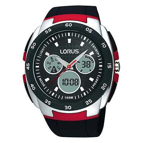 Buy Lorus R2343DX9 Men's Analogue / Digital Chronograph Polycarbonate Strap Watch, Black / Red Online at johnlewis.com