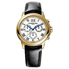 Buy Raymond Weil 4476-PC-00800 Men's Tradition Leather Strap Watch, Black Online at johnlewis.com