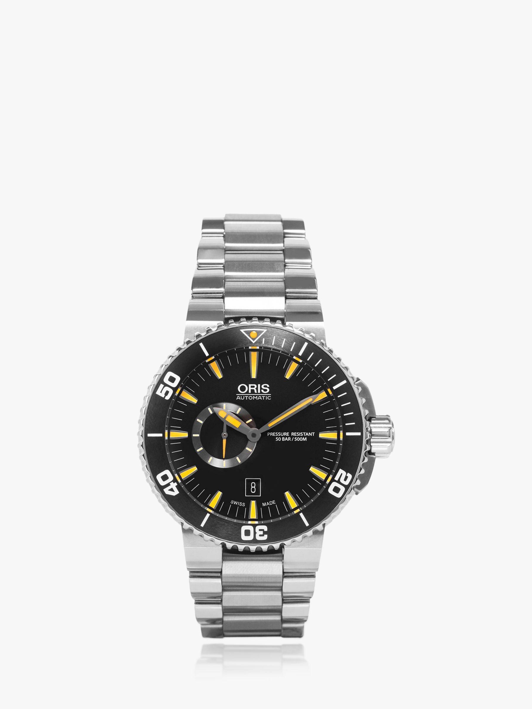 Oris Oris 01 743 7673 4159-07 8 26 01PEB Men's Aquis Small Second Date Automatic Bracelet Strap Watch, Silver/Black